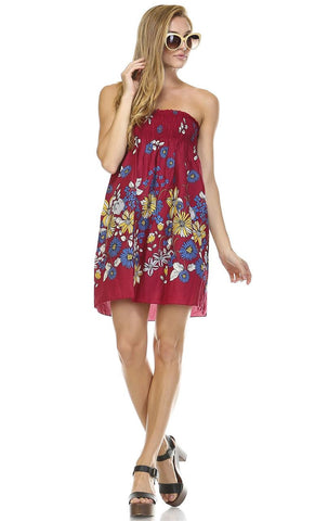 Burgundy Windy Floral Elastic Sundress