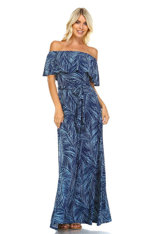 Off The Shoulder Wrap Maxi Dress Jungle Leaves Blue
