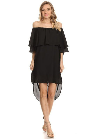 Off Shoulder Hi Low Short Sleeve Resort Mini Dress Black