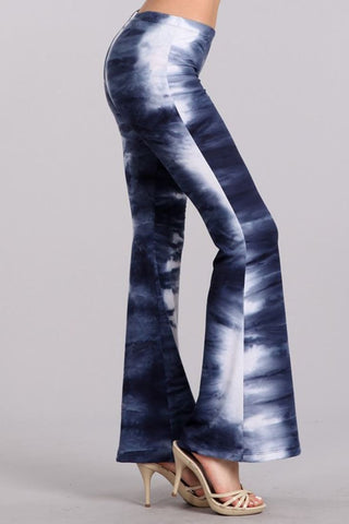 Bell Bottoms Yoga Stretch Pants Tie Dye 01 Blue White