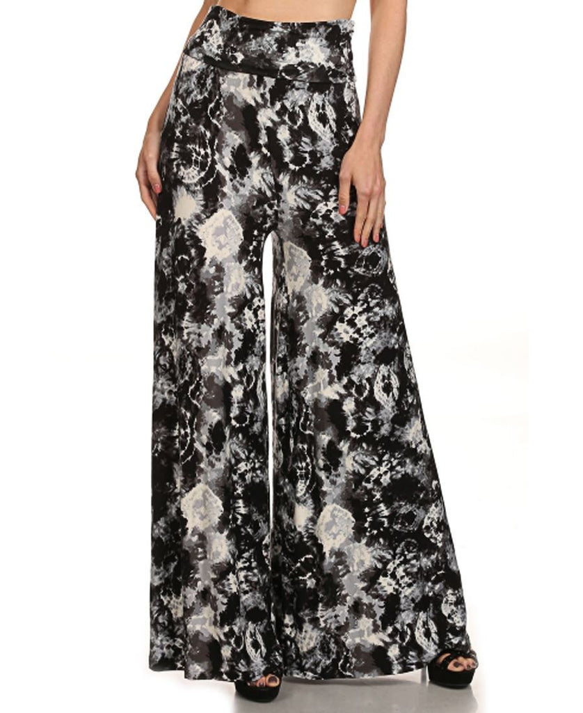 Foldover Palazzo Pants Black Gray White Tie Dye Lion S