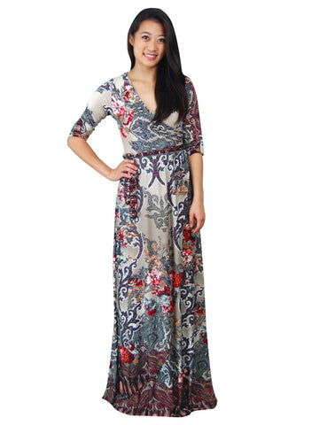 Maxi Dress with Sleeves Bombshell Red Four