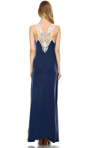 Lace Maxi Dress with Crochet Details Navy