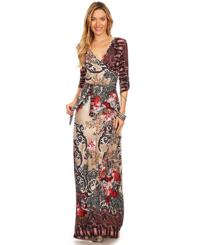 Maxi Dress with Sleeves Bombshell Red Two