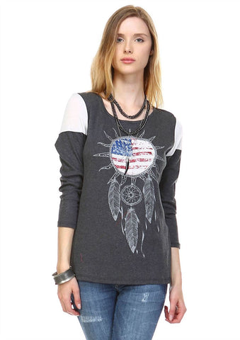 American Flag Shirt Wind Catcher Dark Gray