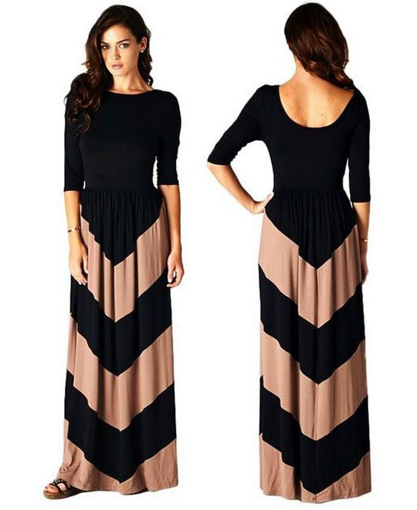 Maxi Dress with Sleeves Chevron Striped Black Mocha