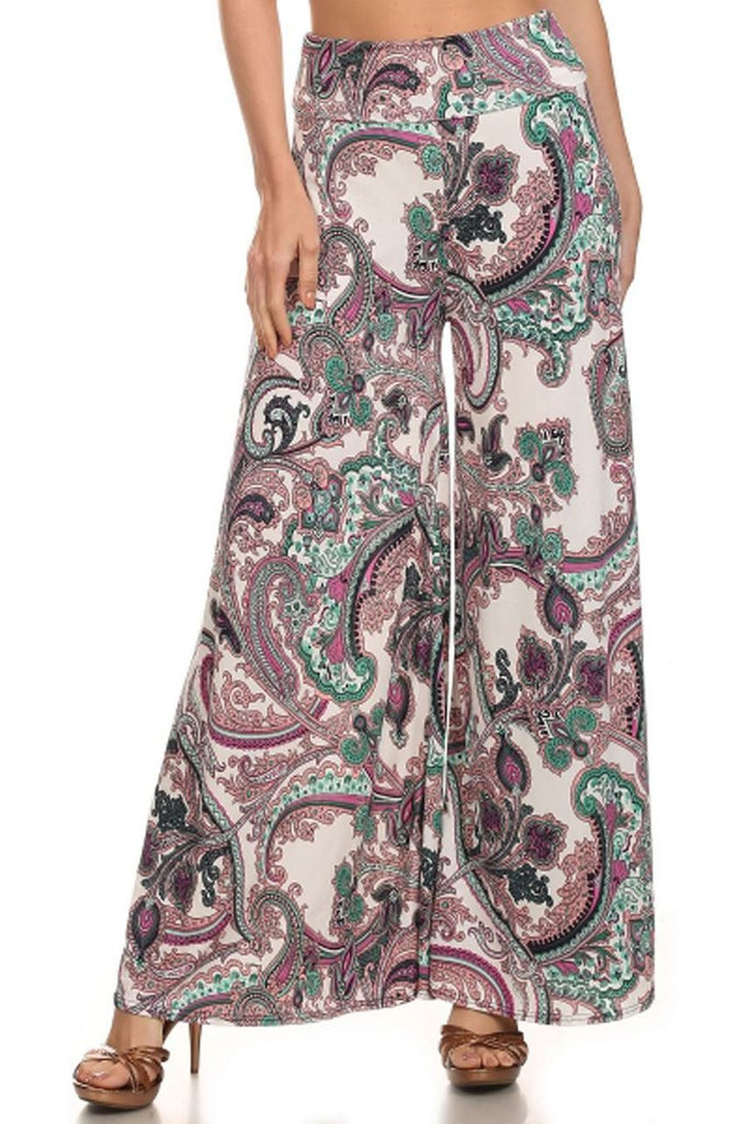 Foldover Palazzo Pants Royal Paisley Mint Purple Pink