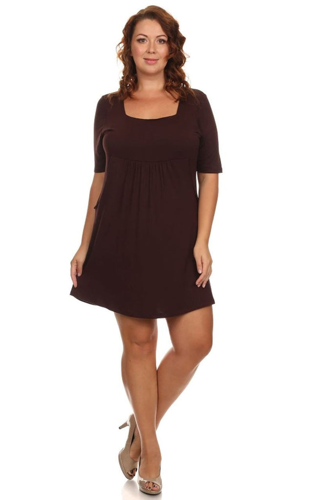 Plus Size Dresses with Sleeves with Pockets Brown