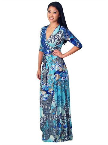 Maxi Dress with Sleeves Bombshell Blue Three