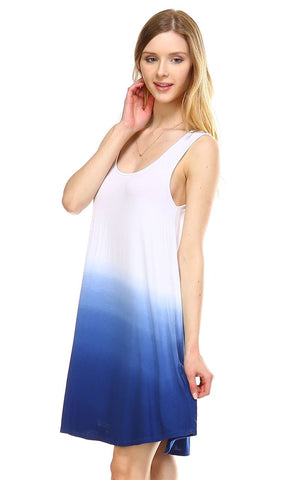 Dip Tie Dye Dress Tank Sleeveless Mini Dresses Seafoam Indigo White