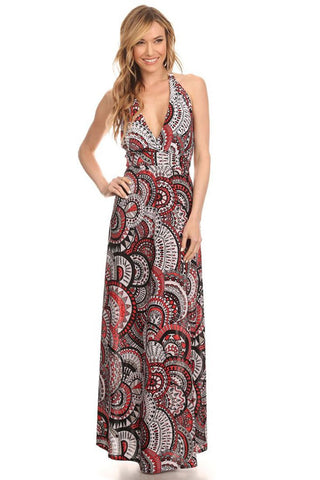Maxi Dress Halter Top Medallion Red Large