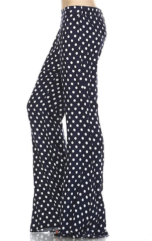 Foldover Palazzo Pants High Waisted Navy Polka Dot