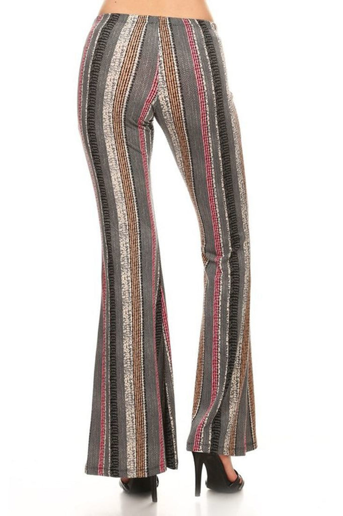 Bell Bottoms Yoga Stretch Pants Lines Gray Brown