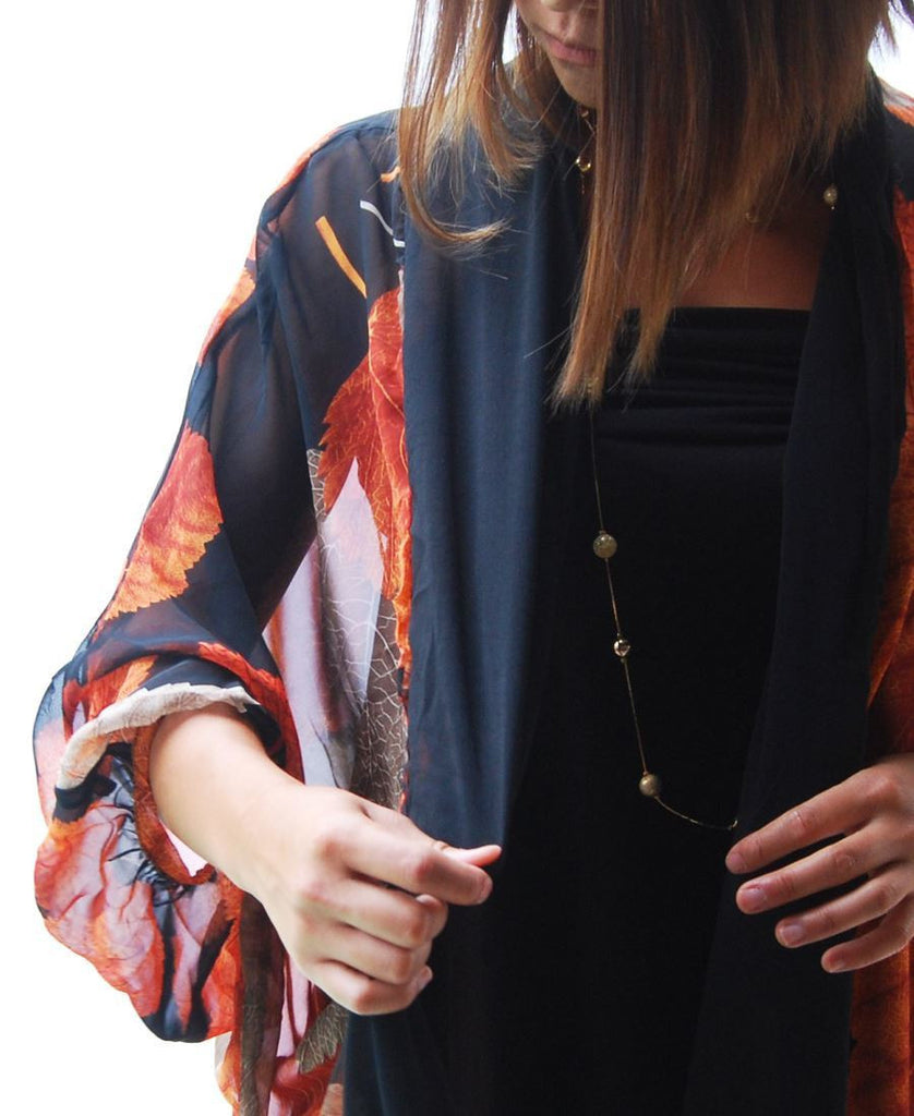 Cardigan Kimono Floral Orange Brown Autumn Leaves