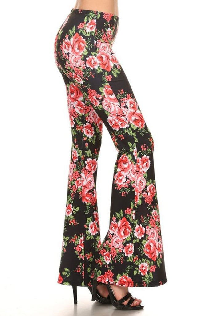 Bell Bottoms Yoga Stretch Pants Roses Black Pink