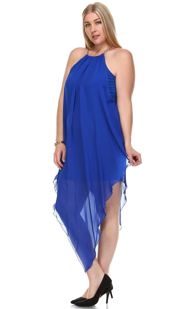 Plus Size Cocktail Dress Asymmetrical Hem with Gold Chains Royal Blue