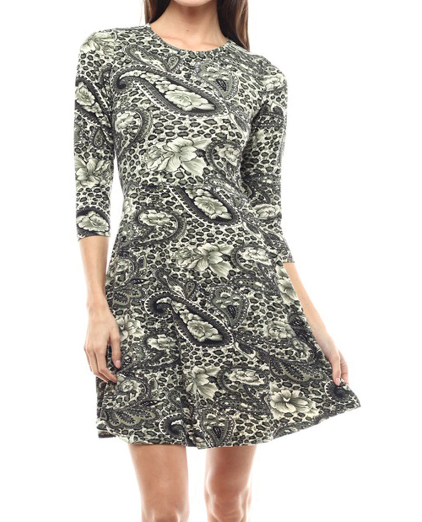Casual Dress Dress Fit Flare Paisley Olive