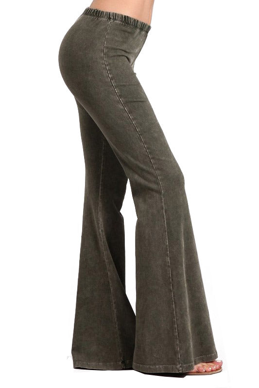 Bell Bottoms Yoga Pants Denim Colored Dark Moss Green