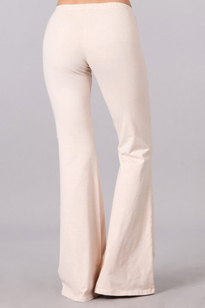 Bell Bottoms Yoga Stretch Pants Denim Nude Cream