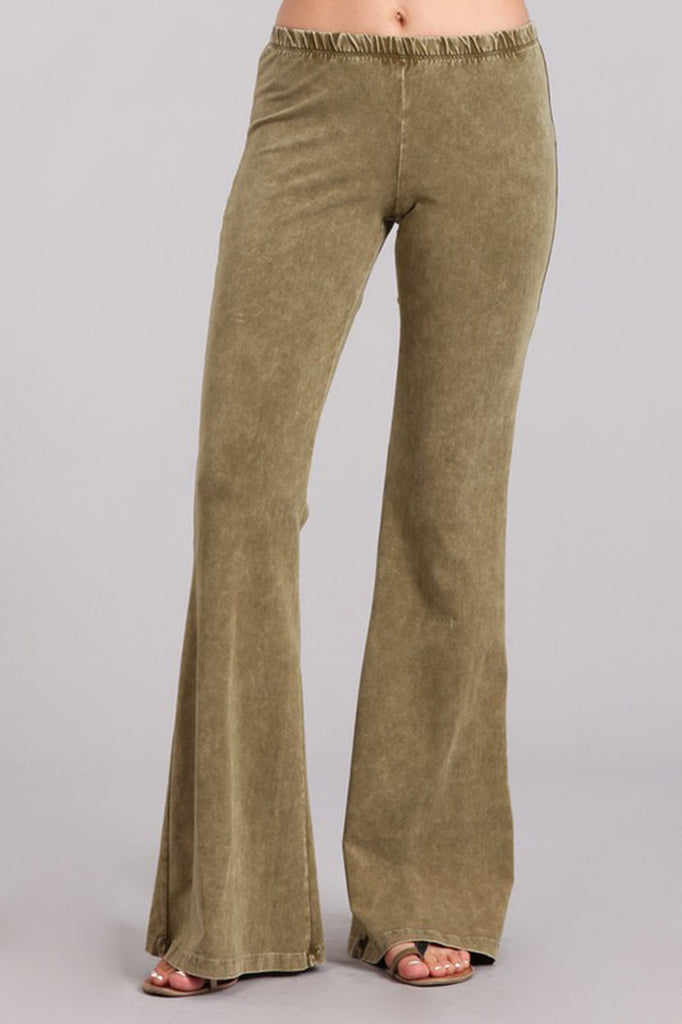 Bell Bottoms Yoga Pants Denim Colored Pale Olive
