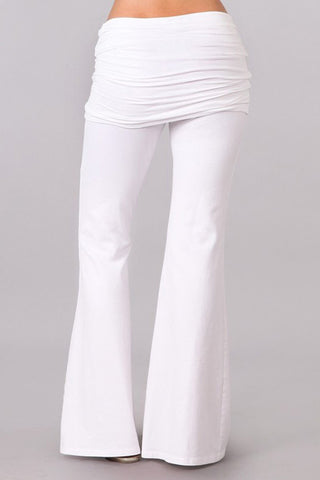 Bell Bottoms Yoga Pants Foldover White