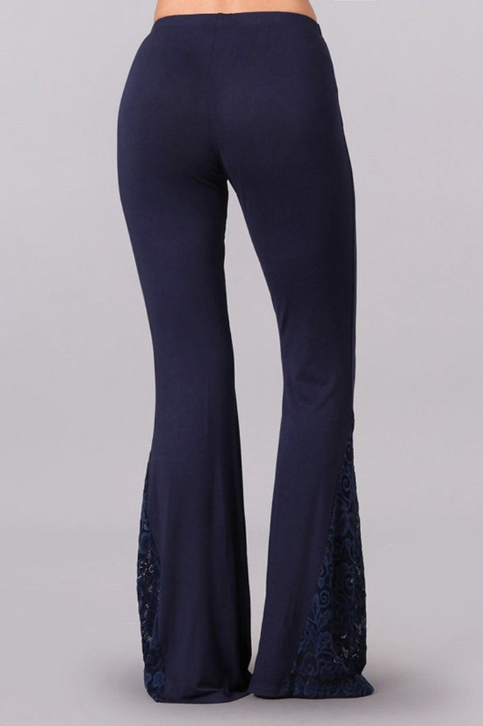 Bell Bottoms Yoga Stretch Pants Flare Lace Navy