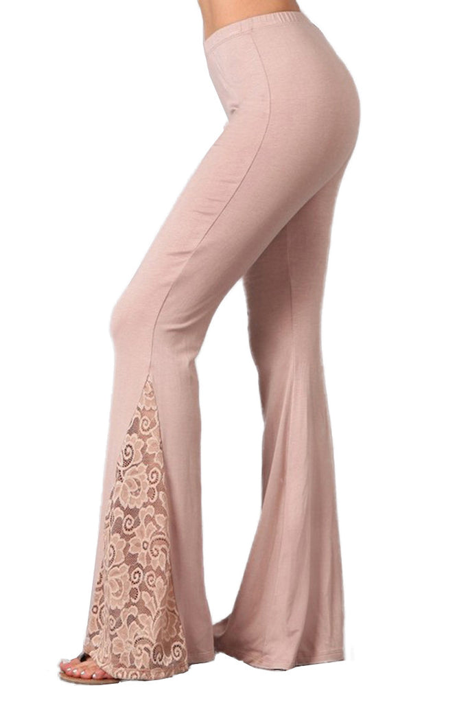 Bell Bottoms Yoga Stretch Pants Flare Lace Taupe