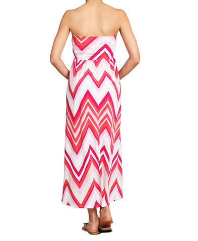 Maxi Skirt Convertible Dress Hot Pink Chevron