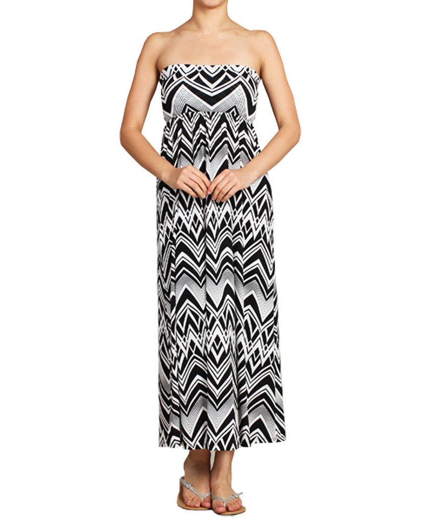 Maxi Skirt Convertible Dress Black White Tribal