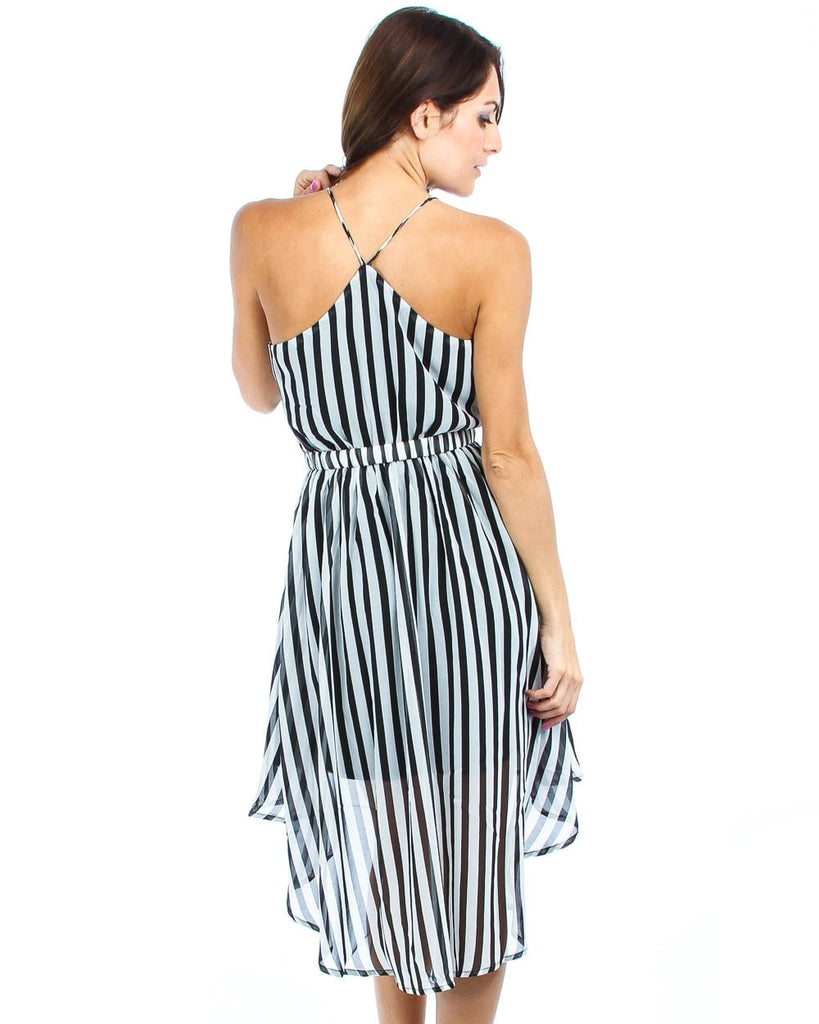 Sleeveless Highlow Striped Midi Dress with Belt Black White