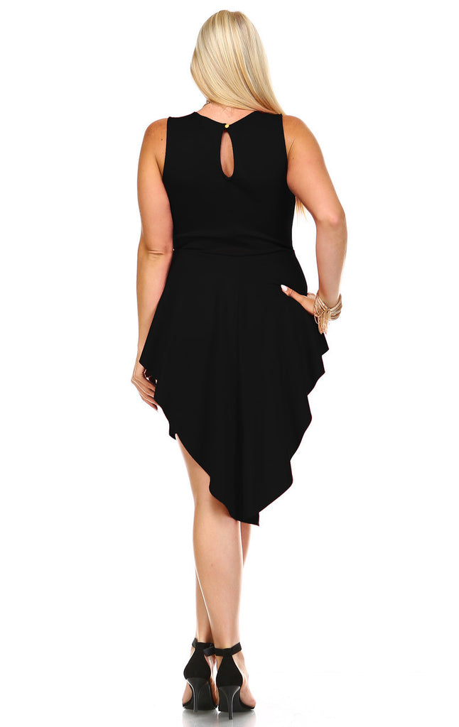 Plus Size Sleeveless Peplum Short Bodycon Dress Black