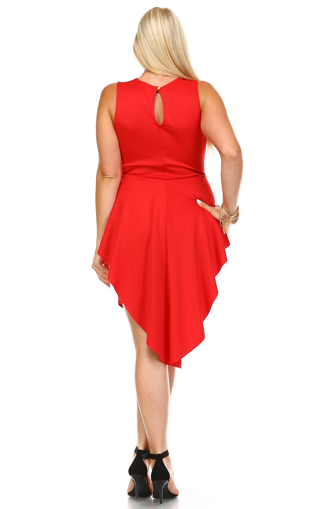 Plus Size Sleeveless Peplum Short Bodycon Dress Red
