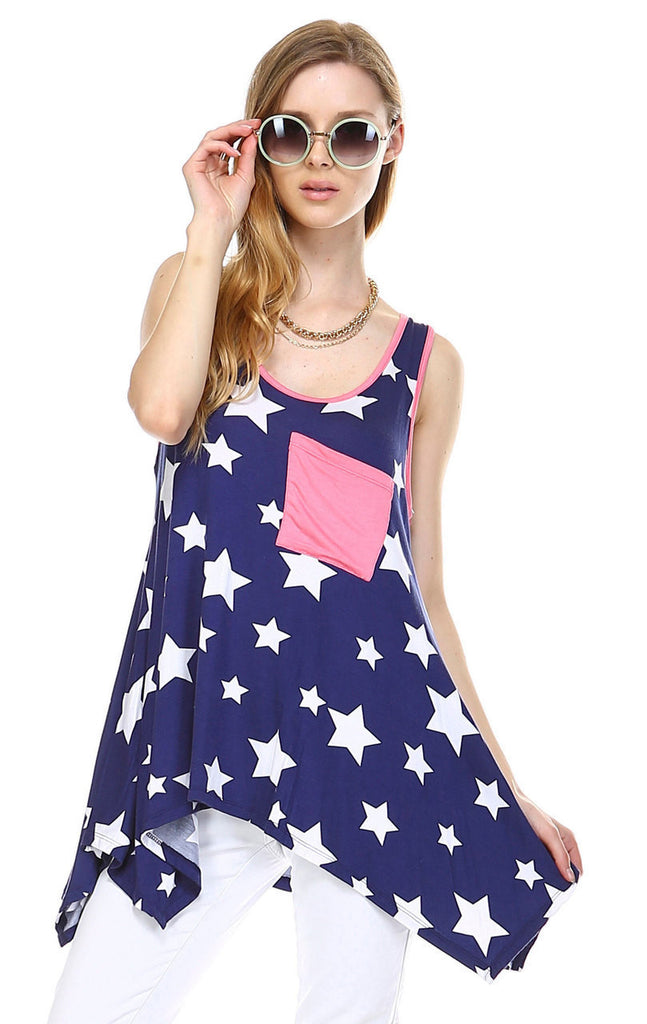 Patriotic Shirt Tank Big Star Patterns Big Star Navy White Pink