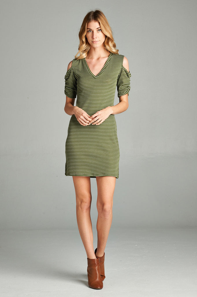 Open Shoulder Ribbed Dress with V Neck Striped Olive