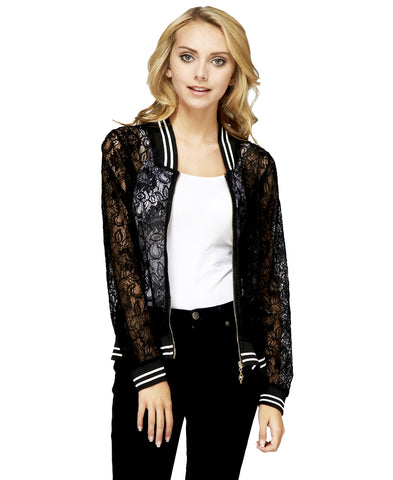 Lace Baseball Jacket Black White