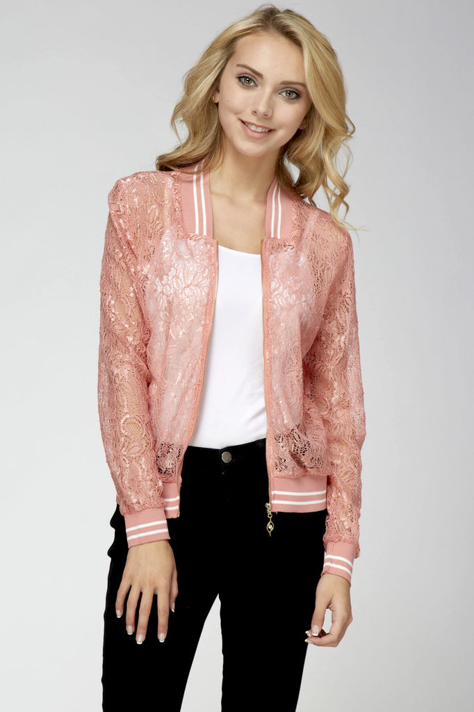 Lace Baseball Jacket Light Pink White