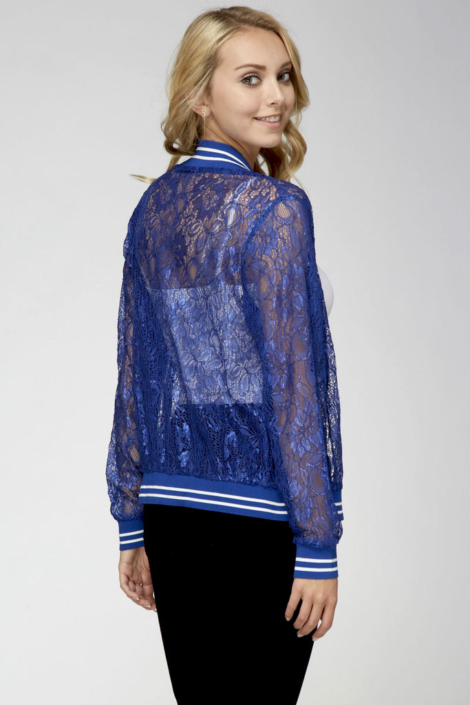 Lace Baseball Jacket Royal Blue White