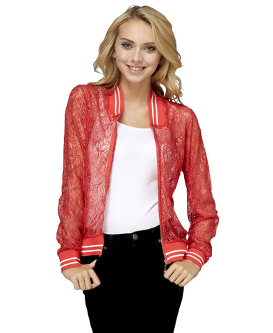 Lace Baseball Jacket Red White