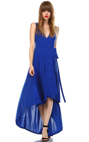 Lycra Sleeveless V-Neck Plunge Belt Hi Low Wrap Dress Blue