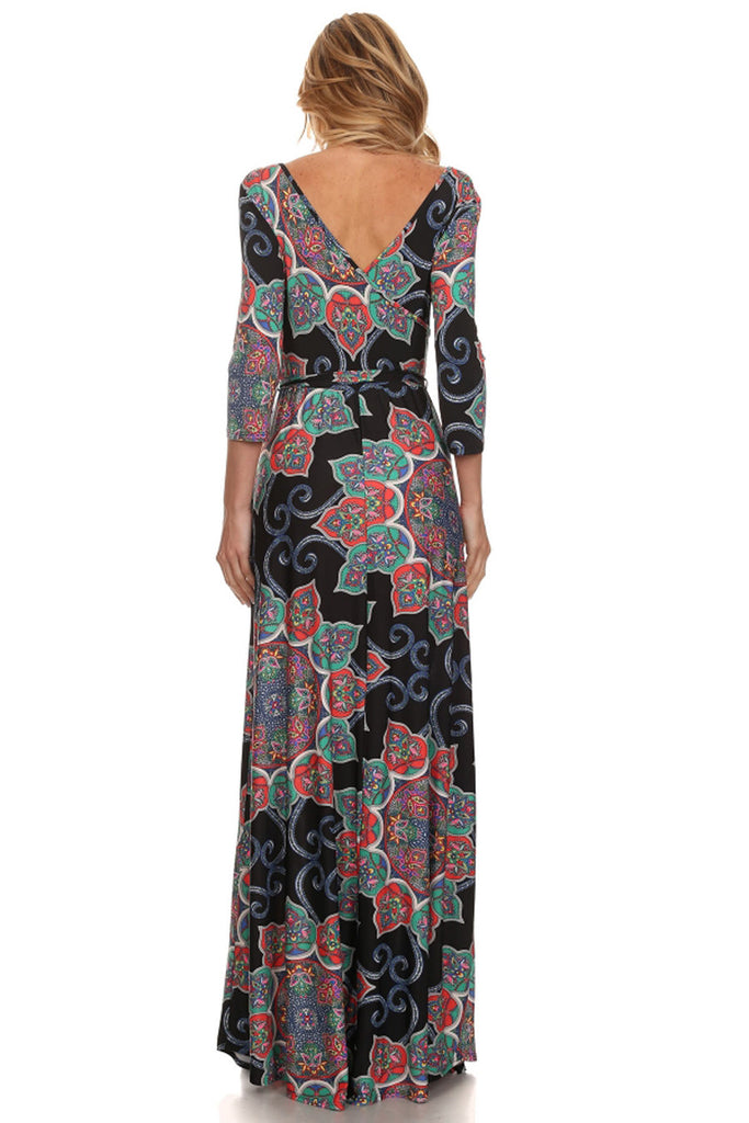 Maxi Dress with Sleeves Crystal Paisley Navy