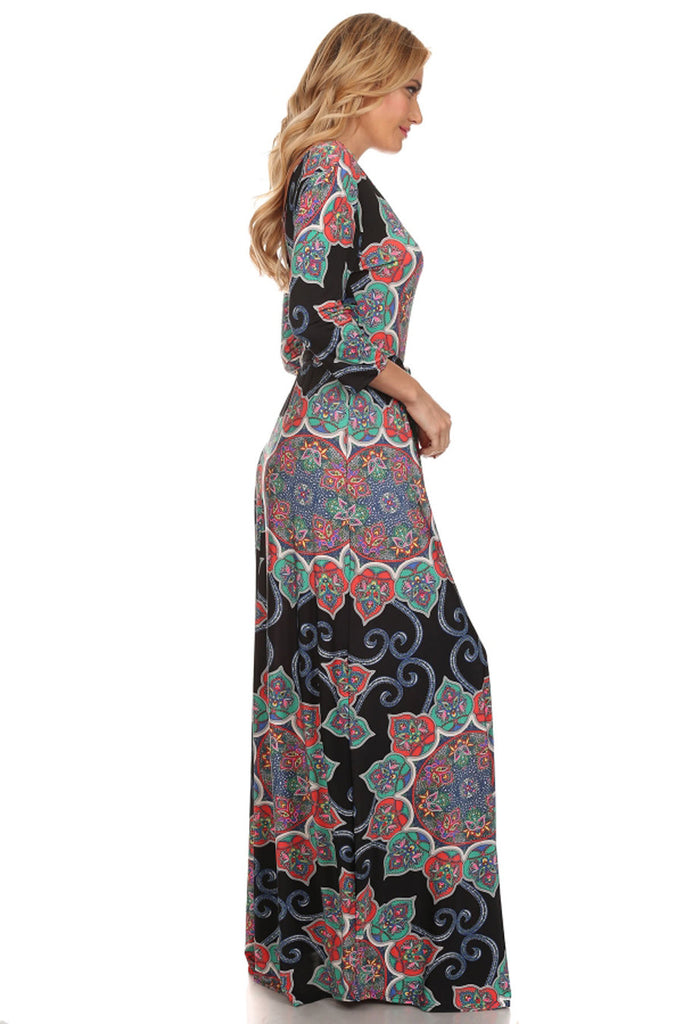 Maxi Dress with Sleeves Crystal Paisley Black