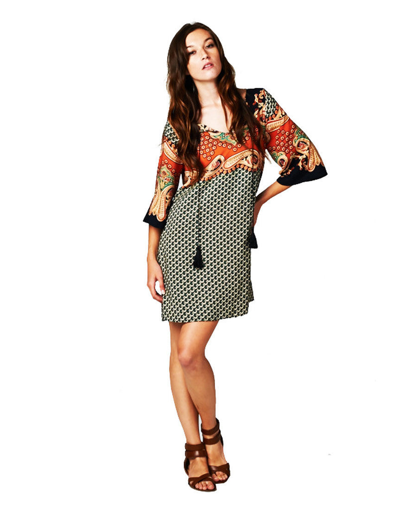 Premium Boho Paisley Orange Green Gold Black Tunic Dress with Strings