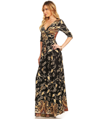 Maxi Dress with Sleeves Elegant Floral Paisley Black Gold