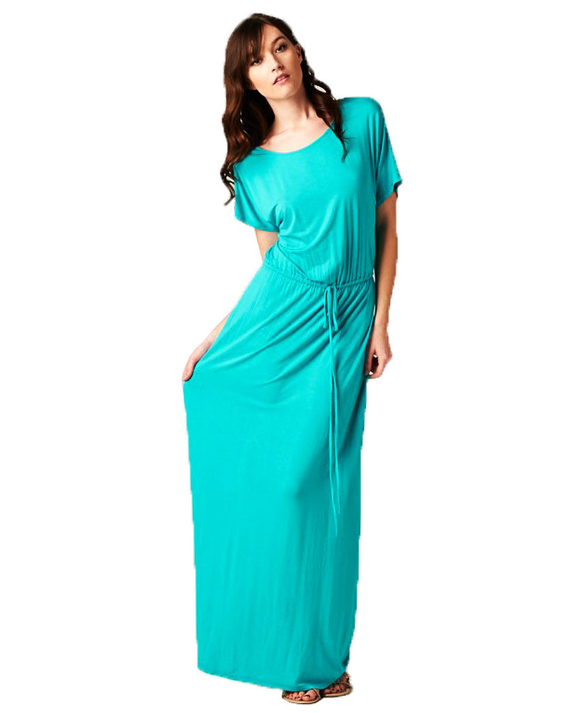 Short Sleeve Dolman Boyfriend Maxi Dress with Elastic Waist Drawstring Aqua