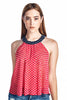 Sleeveless Polka Dot Top  Red White Navy