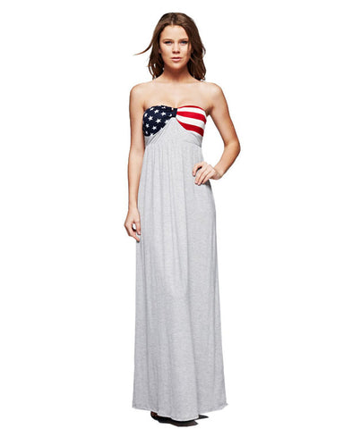 Strapless Elegant American Flag Bust Stars and Stripes Maxi Dress Heather Gray