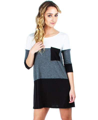 Tunic Top Casual Dress Oversized Round Neck Long Sleeve Charcoal Black White S