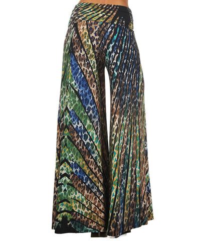 Beautiful Striped Leopard Cheetah Palazzo Pants Blue Green