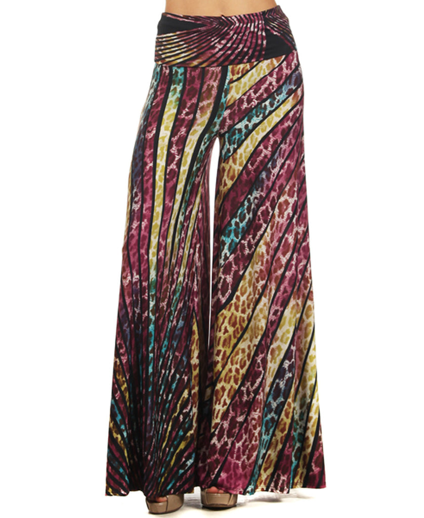Beautiful Striped Leopard Cheetah Palazzo Pants Purple