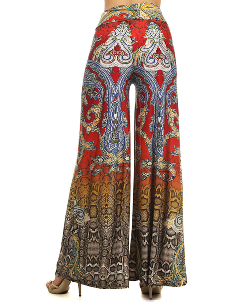 Reptile Snake Paisley Palazzo Pants Red Yellow Tan Brown